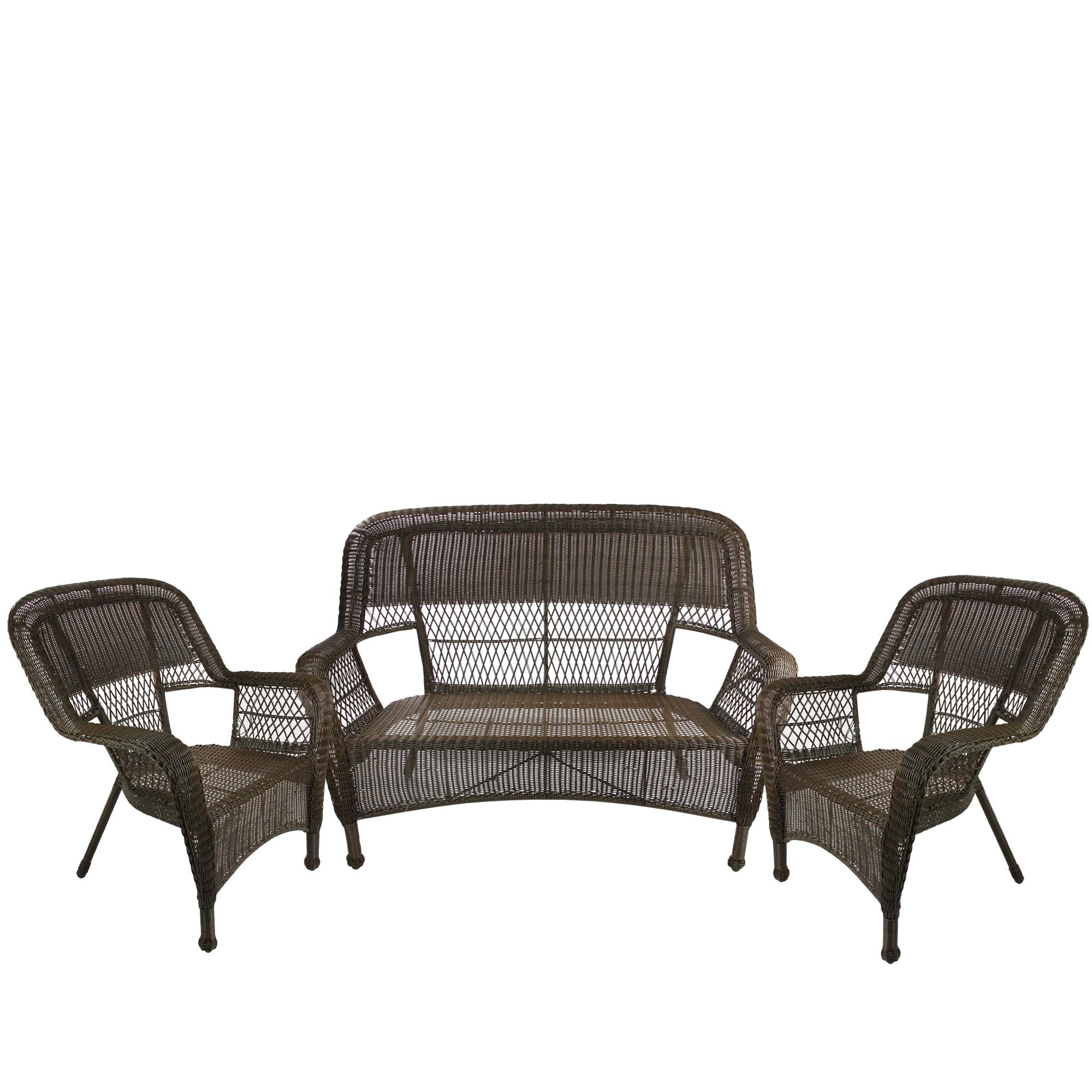 Northlight 4 Piece Brown Steel Resin Patio Furniture Set Loveseat 2