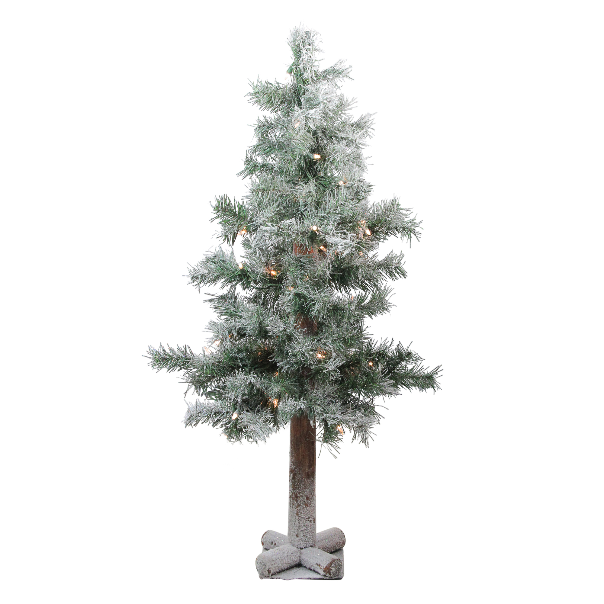 3 X 19 Pre Lit Lightly Flocked Woodland Alpine Artificial Christmas Tree Clear Lights Walmart Canada