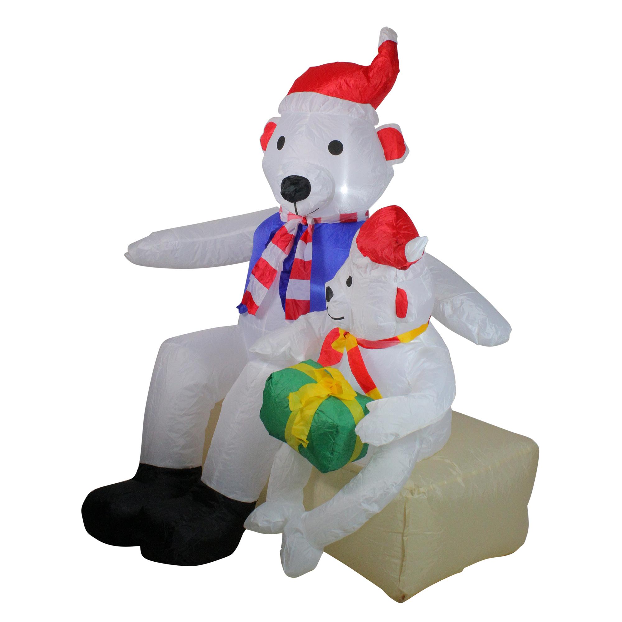 Northlight 4' Inflatable Polar Bear Family Lighted ...