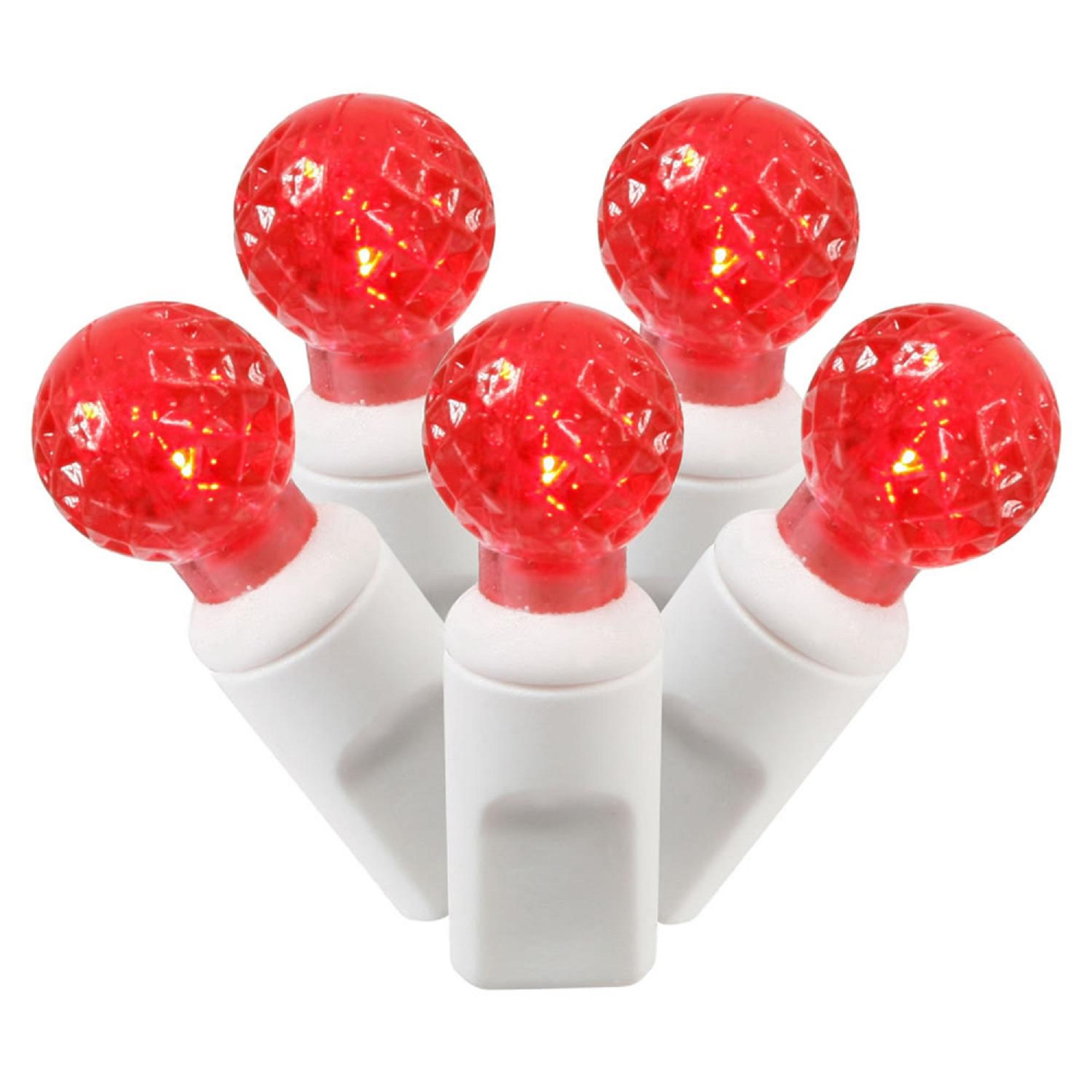 Details About Vickerman 100 G12 Berry Red Led Christmas Lights 4 Spacing White Wire