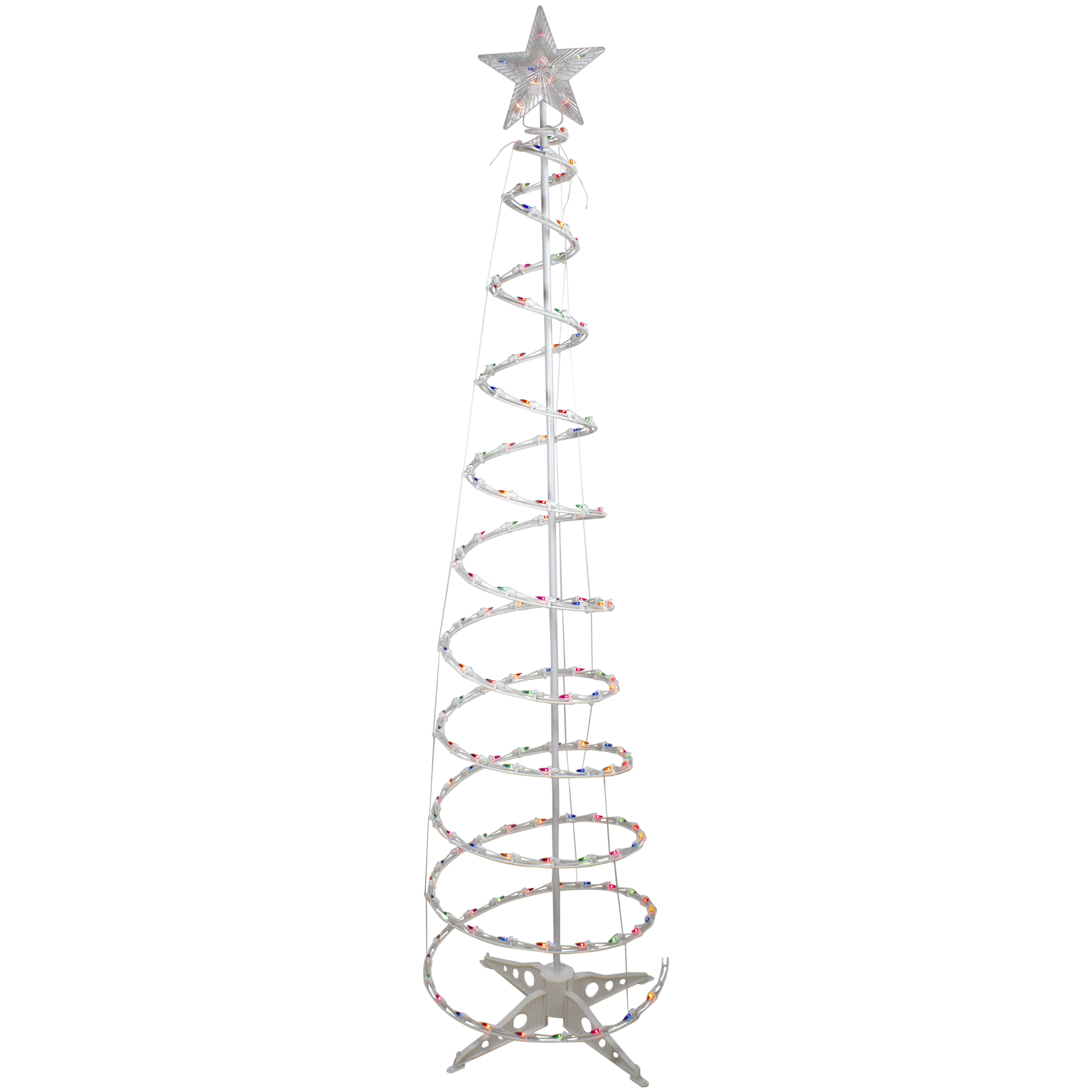 6ft Pre Lit Spiral Christmas Tree With Star Tree Topper Multi Color Lights Ebay