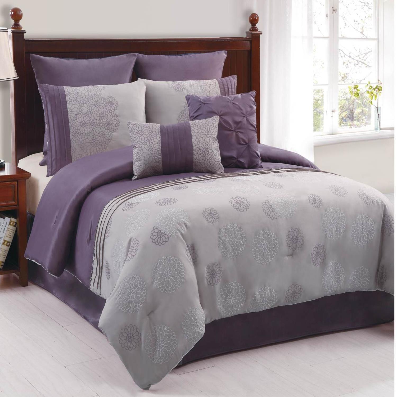 amelle purple grey 8 piece king comforter bed in a bag set new ebay. Black Bedroom Furniture Sets. Home Design Ideas