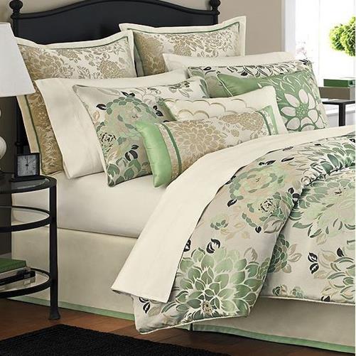 Martha Stewart Jade Flowers 9 Piece Queen Comforter Bed In
