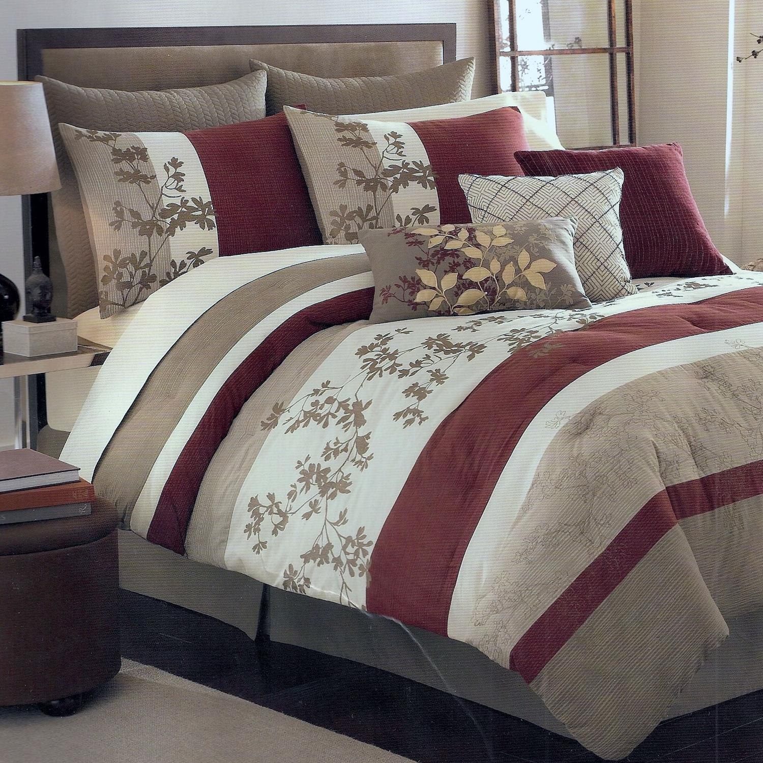 sagamore khaki oversize king 8 piece comforter bed in a bag set new. Black Bedroom Furniture Sets. Home Design Ideas
