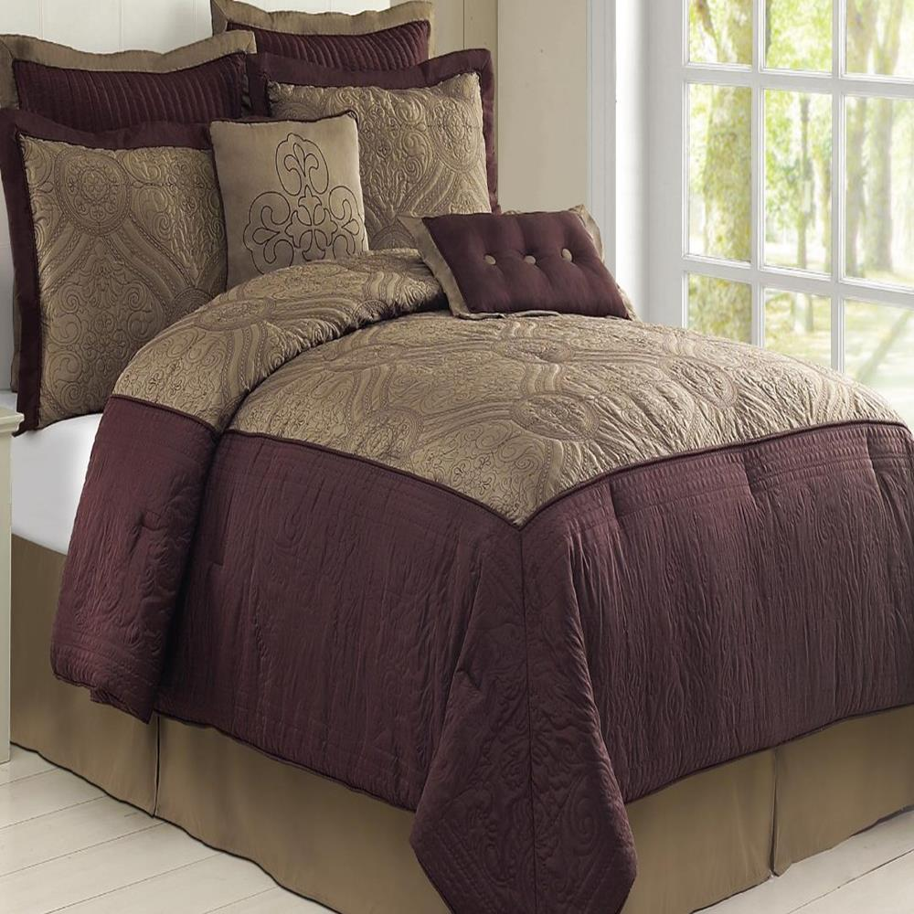 Tisdale Plum Taupe Queen 8 Piece Comforter Bed In A Bag