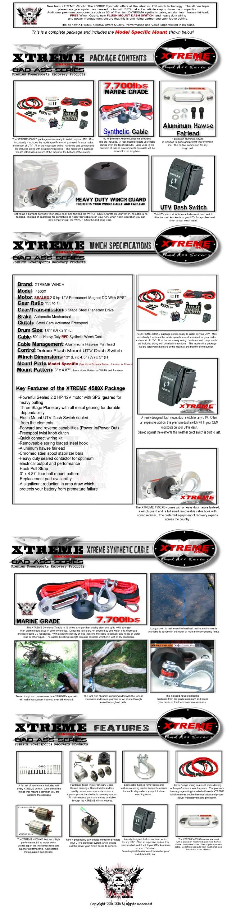 XTREME WINCH 4500LB UTV POLARIS 10-18 RANGER MIDSIZE 400//500//570//800//EXT//EV HD