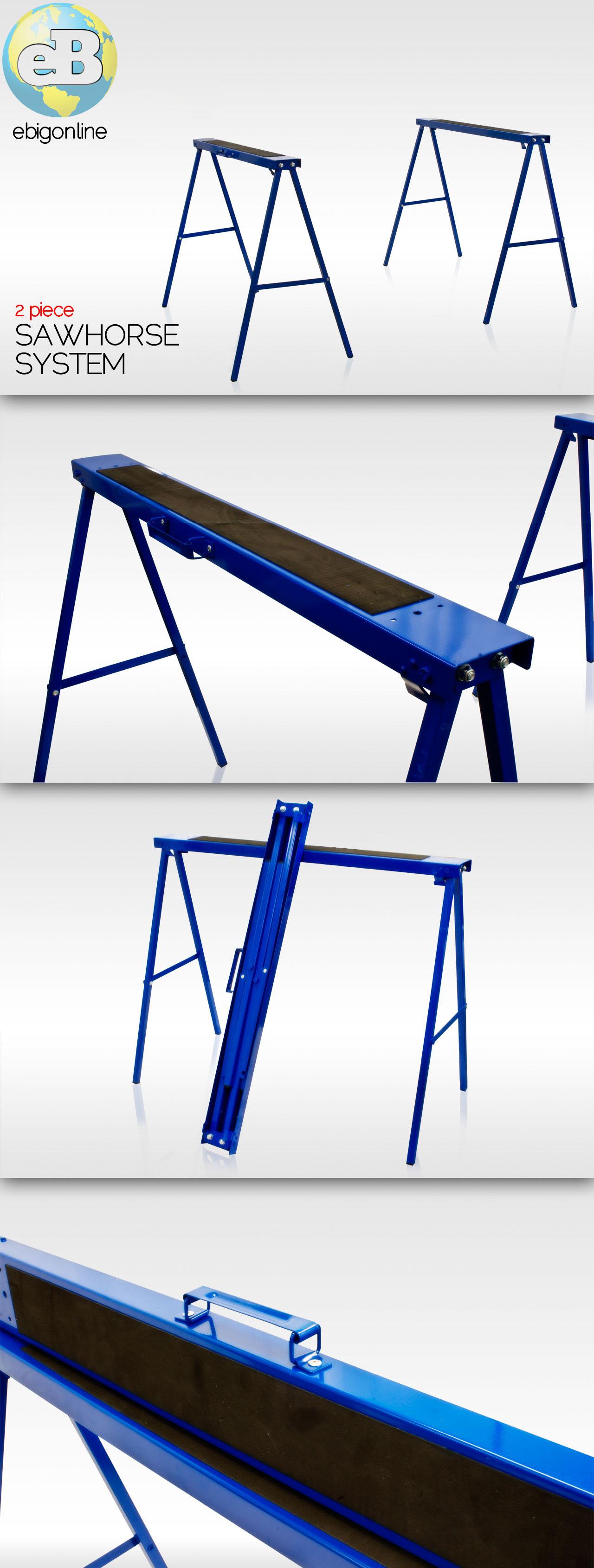 Blue Hawk Folding Steel Adjustable Sawhorse Dimensions
