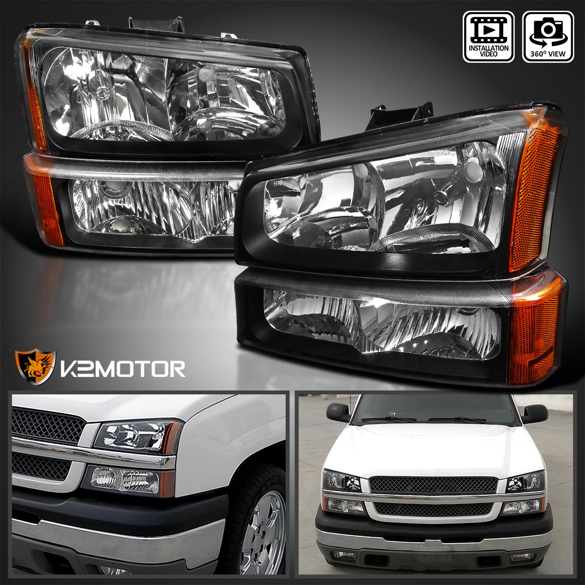 2003-2007 Chevy Silverado Black Headlights+Bumper Parking ...