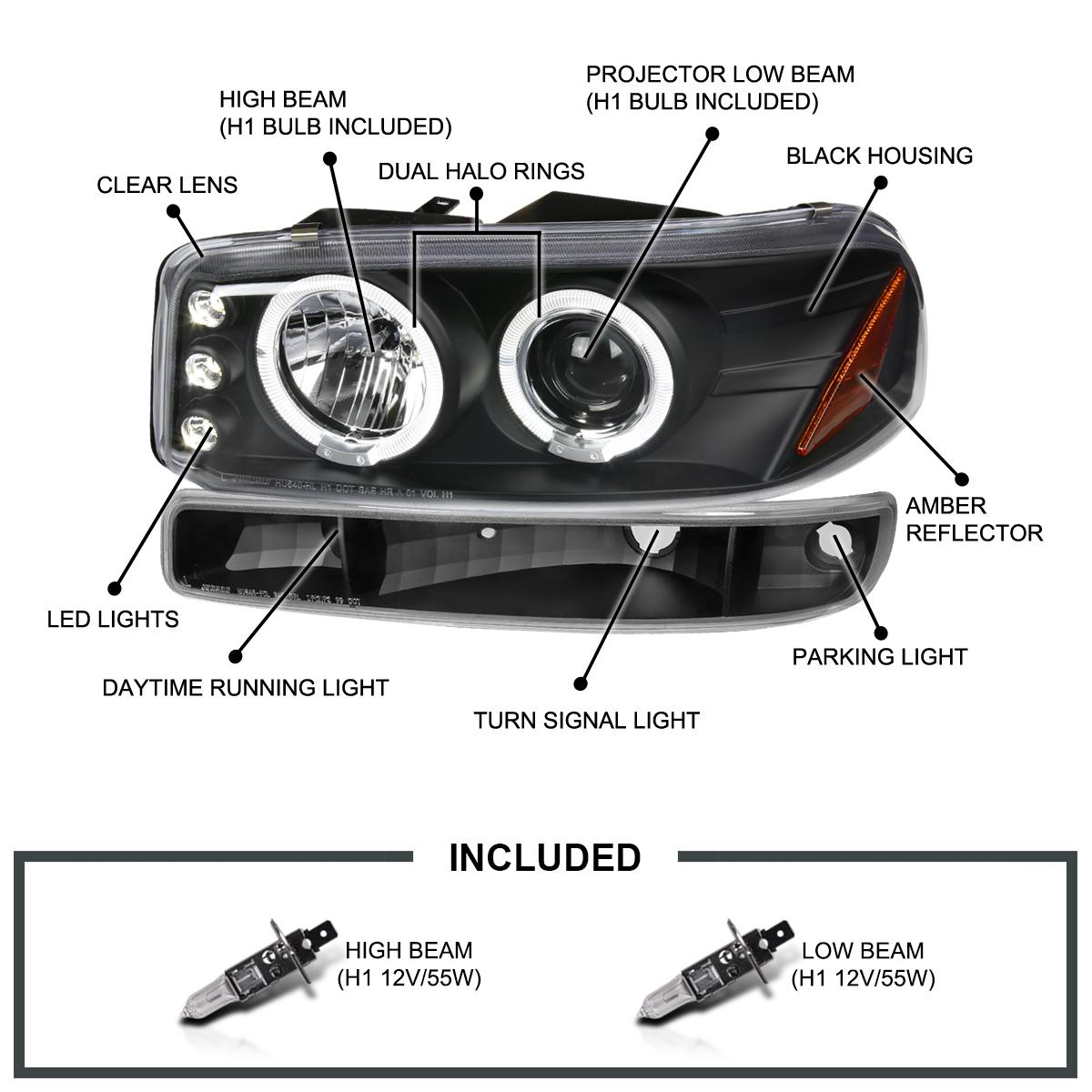 Yukon XL Pair Euro Clear Black Halo Headlights for 2000-2006 GMC Sierra Yukon