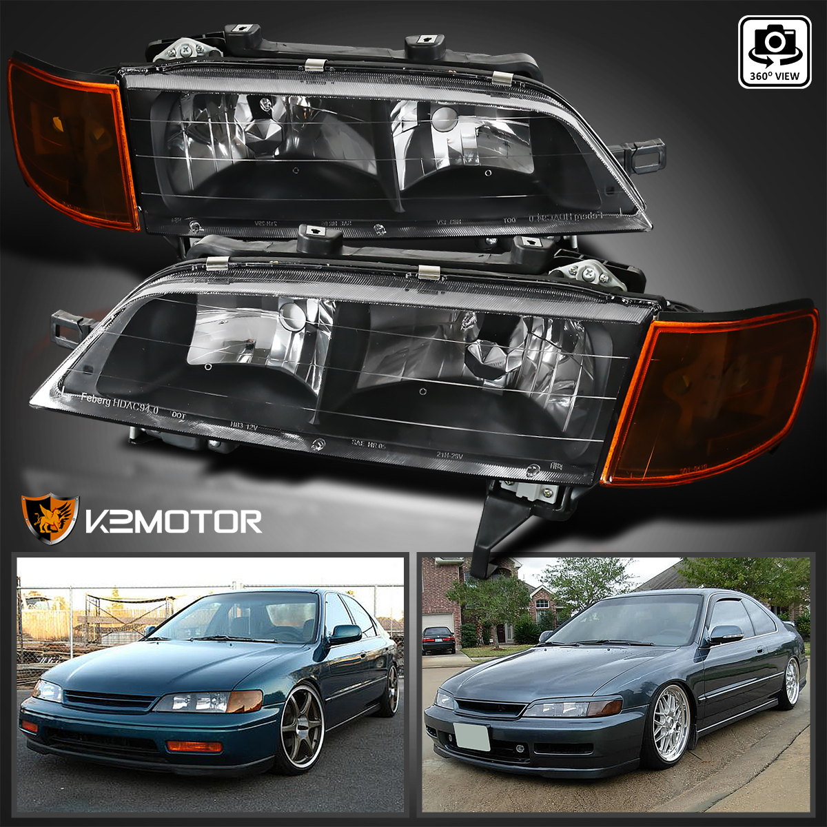 Captivating For 1994 1997 Honda Accord Crystal Headlights+Corner Lamp JDM Black