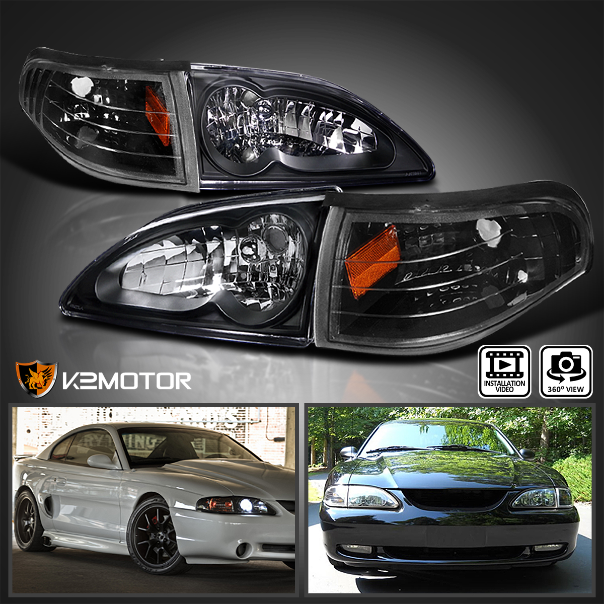 New Turn Signal Light Lamp Driver Side LH w//out Bulbs Ford Mustang F4ZZ13201A