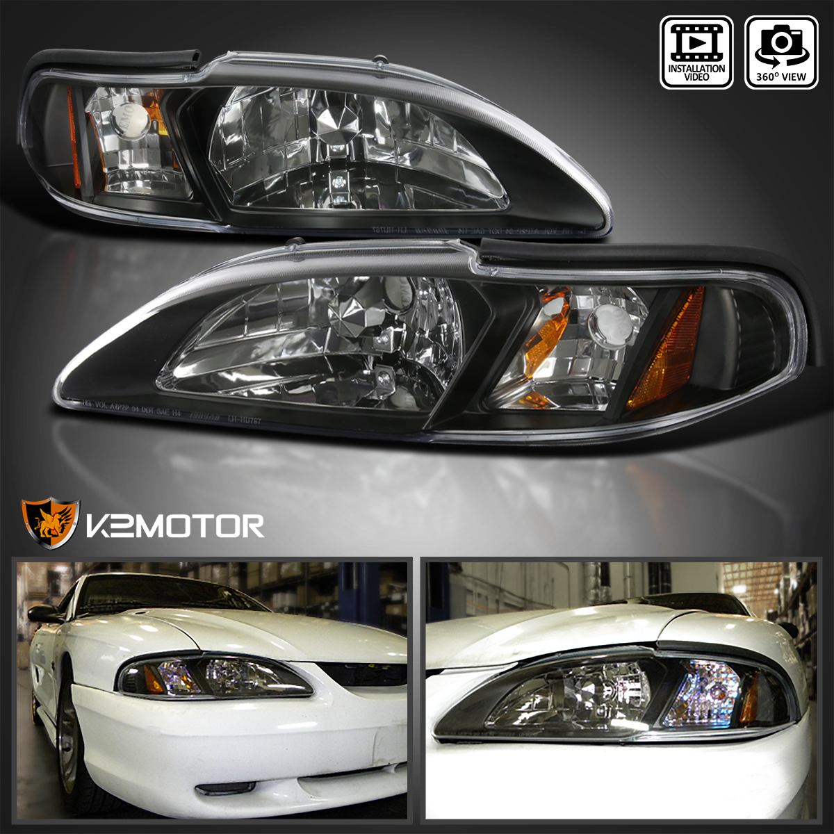 Black//Clear Headlights  for 1994-1998 Ford Mustang Cobra