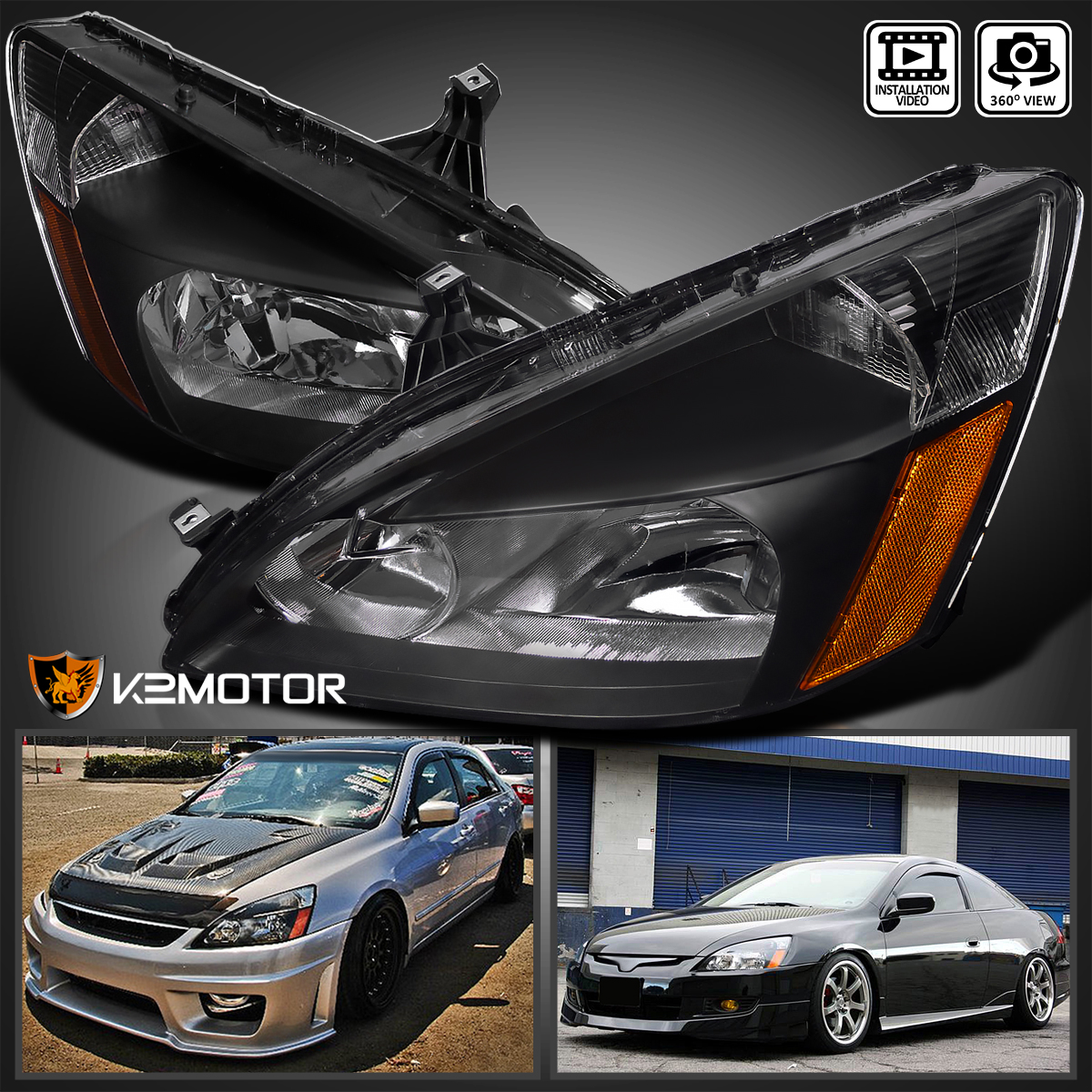 Smoke Housing JSBOYAT Headlight Assembly Compatible with 2003-2007 Honda Accord Automotive Headlamp Replacement with Clear Lens Driver and Passenger Side