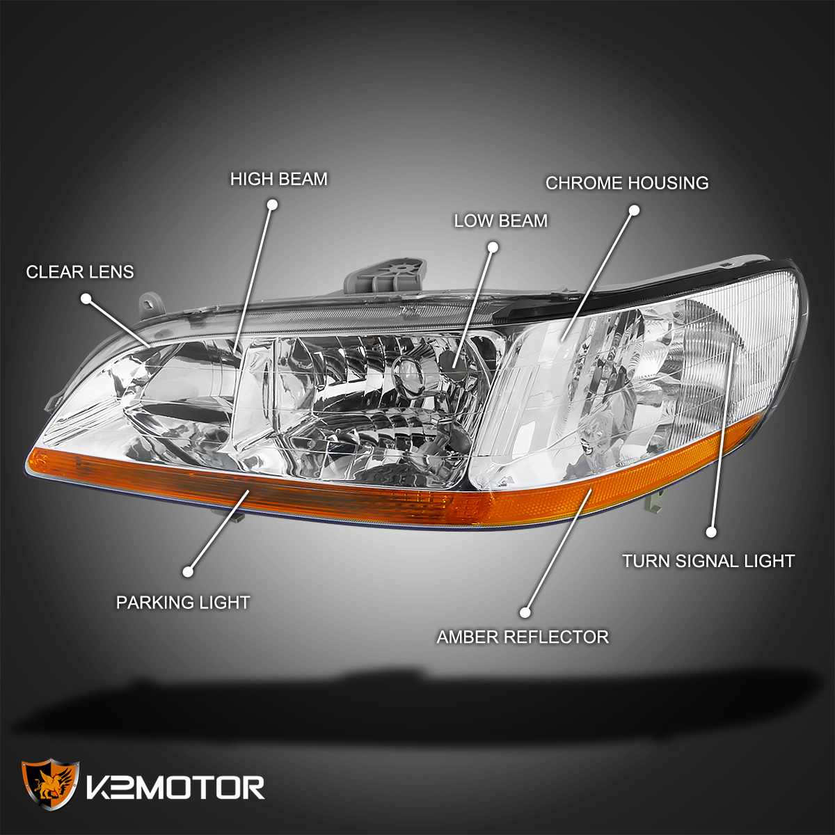 For 98 02 Honda Accord 2/4dr JDM Chrome Front Diamond Headlights Left+Right