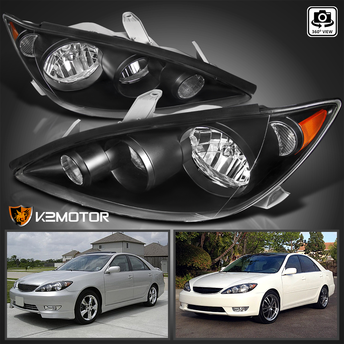 2005-2006 Toyota Camry Black Housing Headlights Front Headlights Lamps Pair