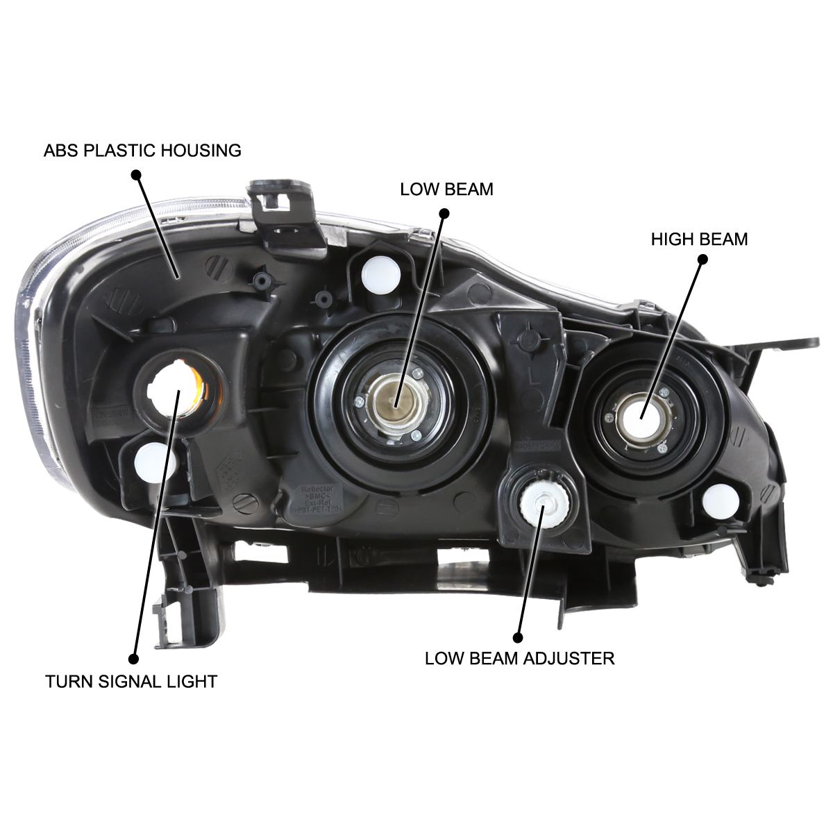 For 2003 2008 Toyota Corolla Crystal Black Headlights Head