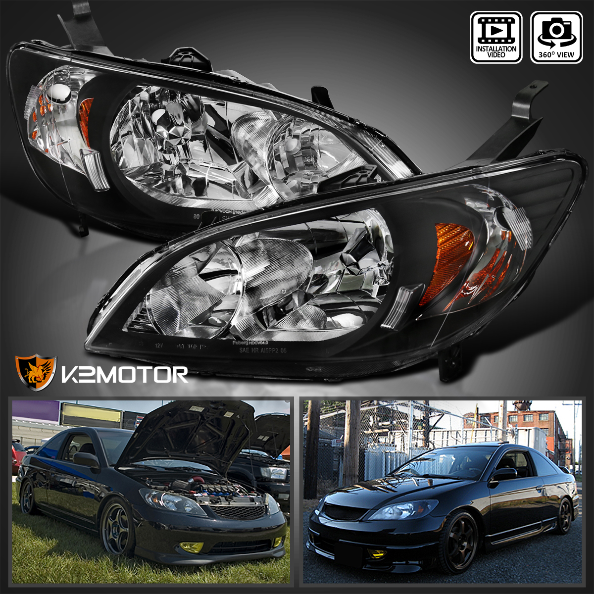 For 2004 2005 Honda Civic JDM Black Headlights Head Lamps Pair Replacement