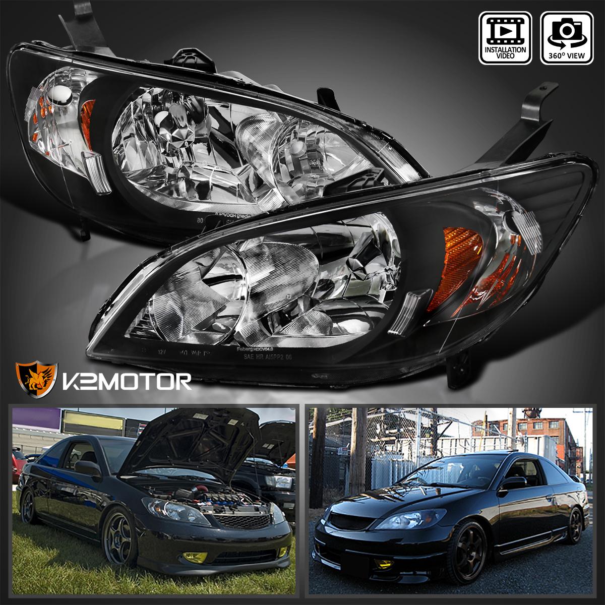 For 2004 2005 Honda Civic JDM Black Headlights Head Lamps Pair Replacement