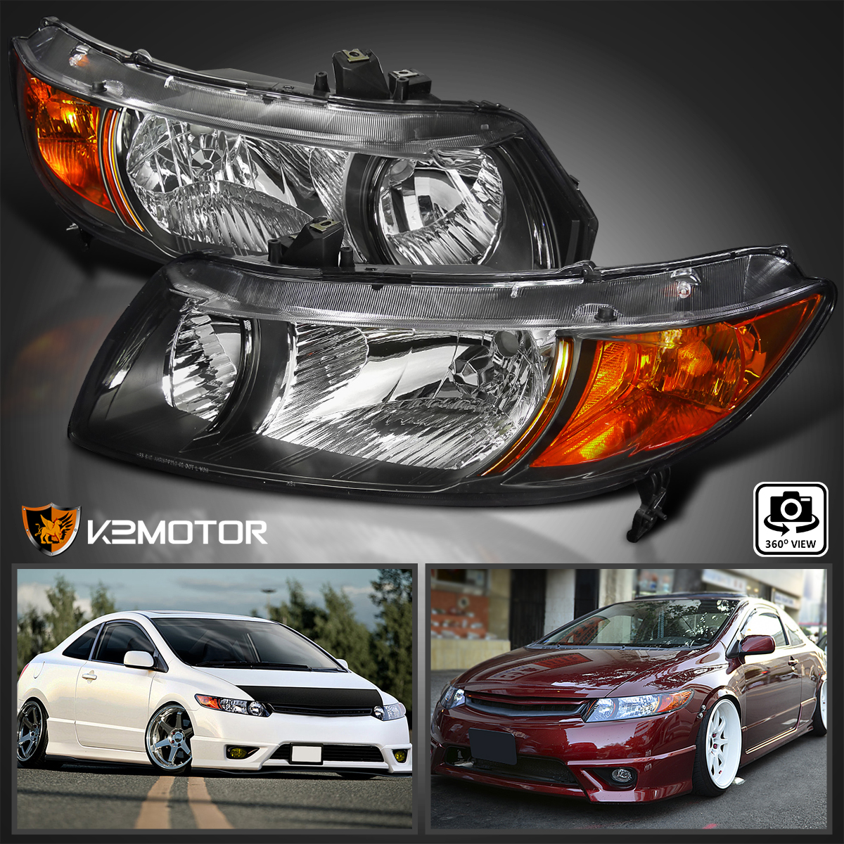 2006 2011 For Honda Civic Coupe 2Dr Headlights Head Lamps JDM Black  Left+Right