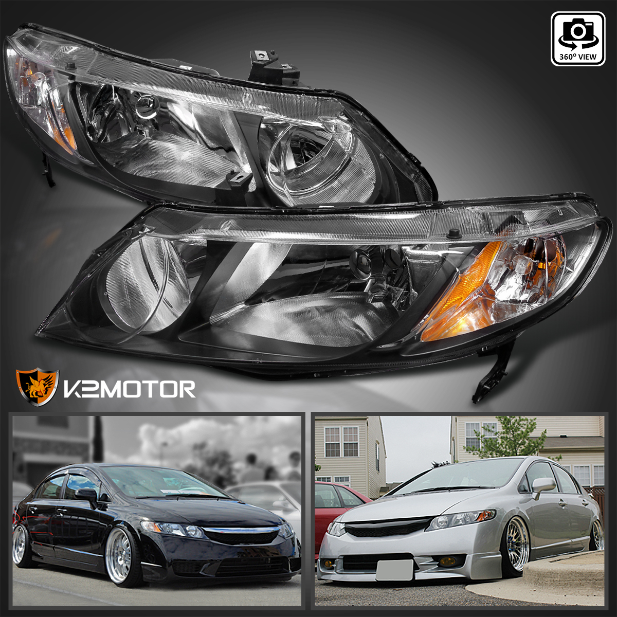 For 2006 2011 Honda Civic Sedan 4Dr JDM Black Headlights Left+Right