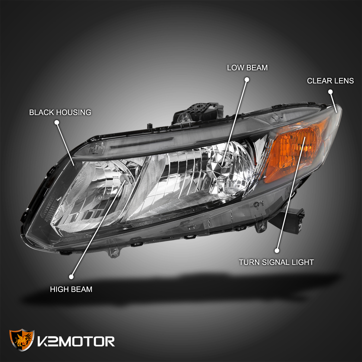 For Civic 12 Driver Side Headlight Clear Lens