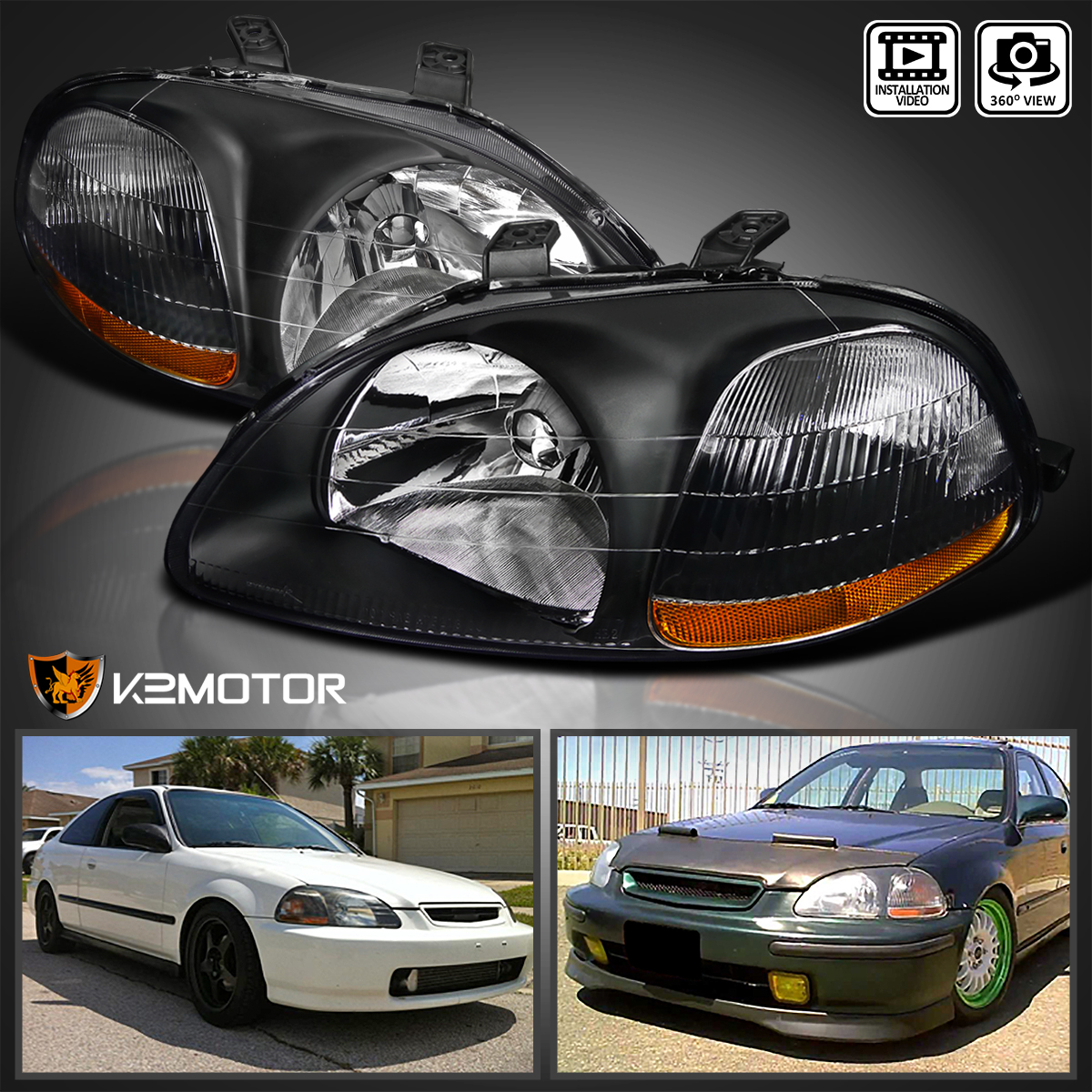 [JDM Black] For 1996 1998 Honda Civic DX EX LX Replacement Headlights  Left+Right