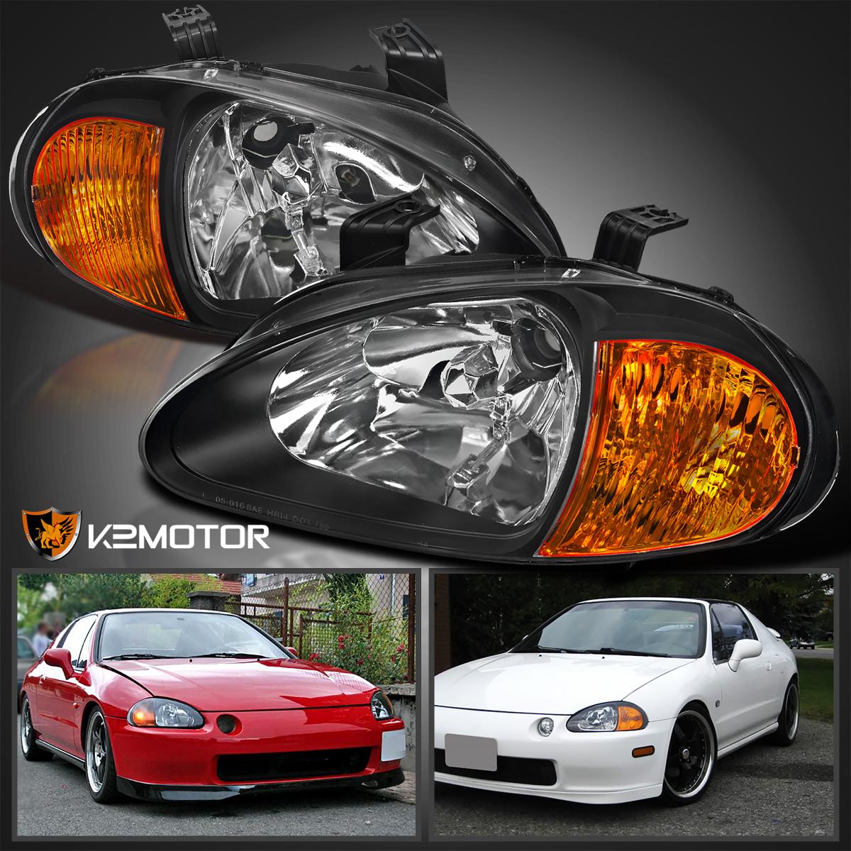 Fit 1993-1997 Honda Del Sol 2-In-1 JDM Black Headlights