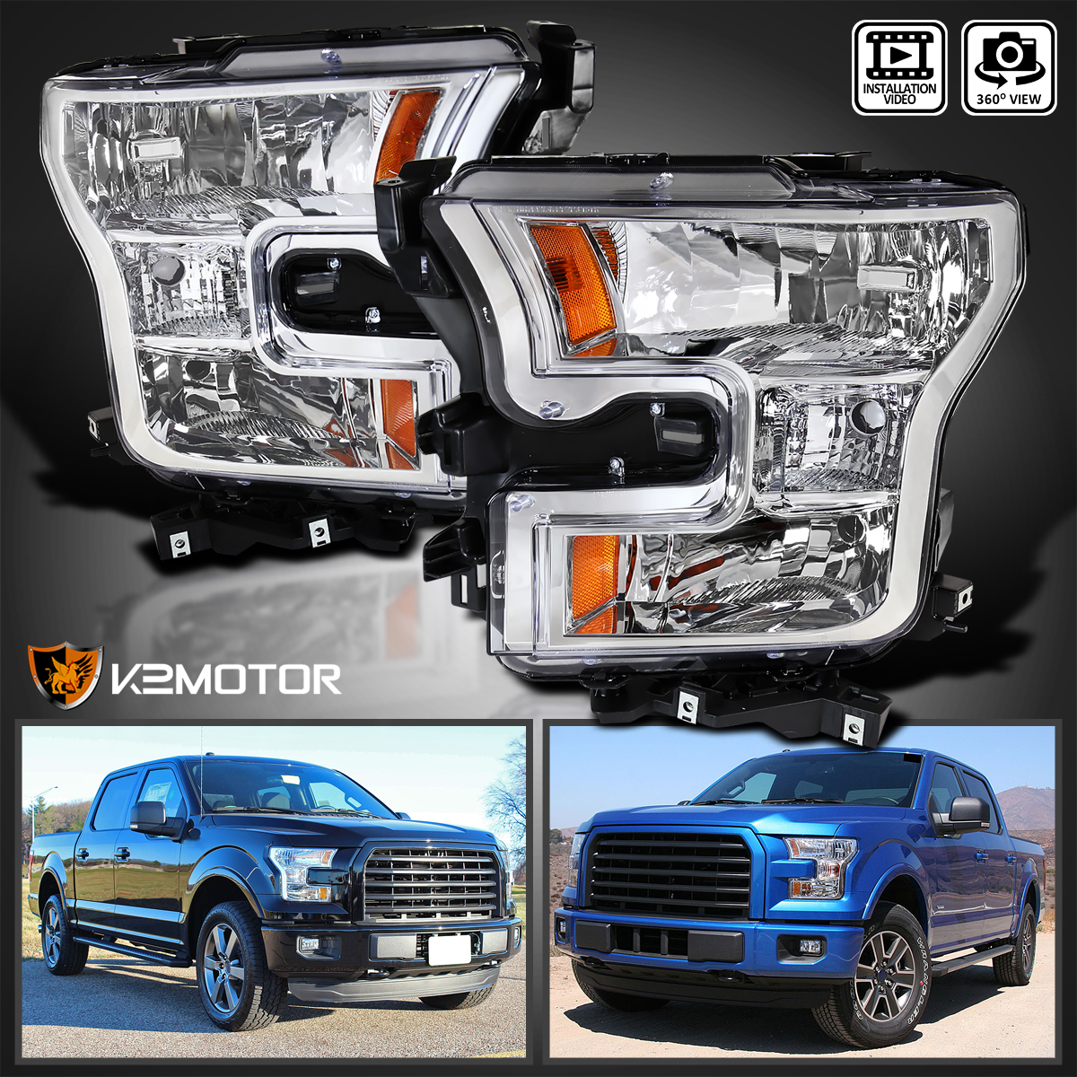 LED -Black 6 inch Driver side WITH install kit 2007 Motorhome class a ALL CLASS A VEHICLES UNIV.POST Post mount spotlight