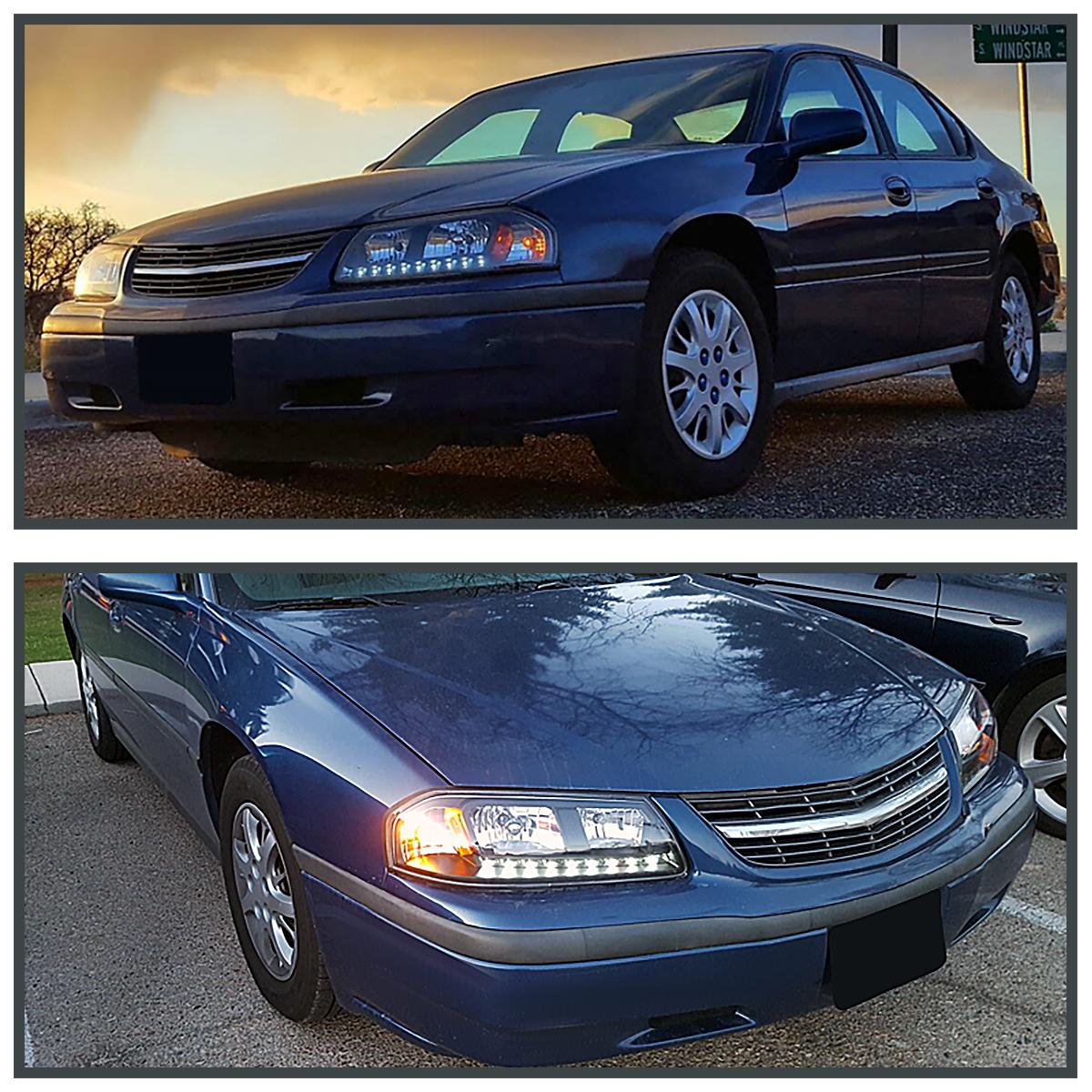 2000-2005 Chevy Impala LS SS Base LED Headlights Head Lamps Black Left+Right