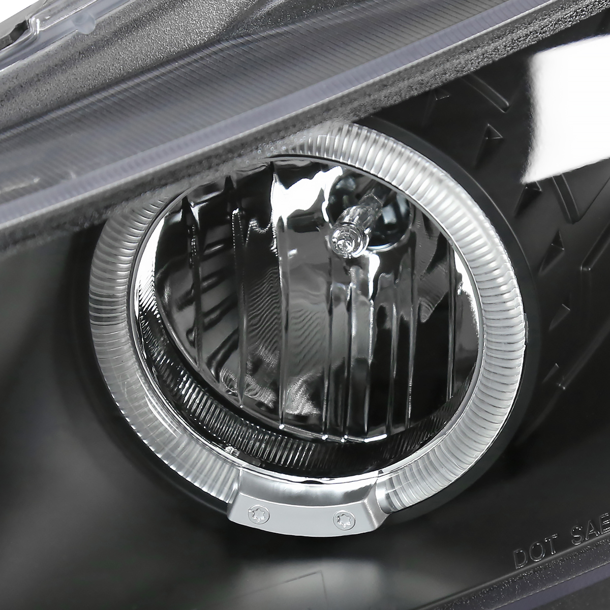 For 2008-2012 Honda Accord 2Dr Coupe  Halo Projector Headlights Black Left+Right