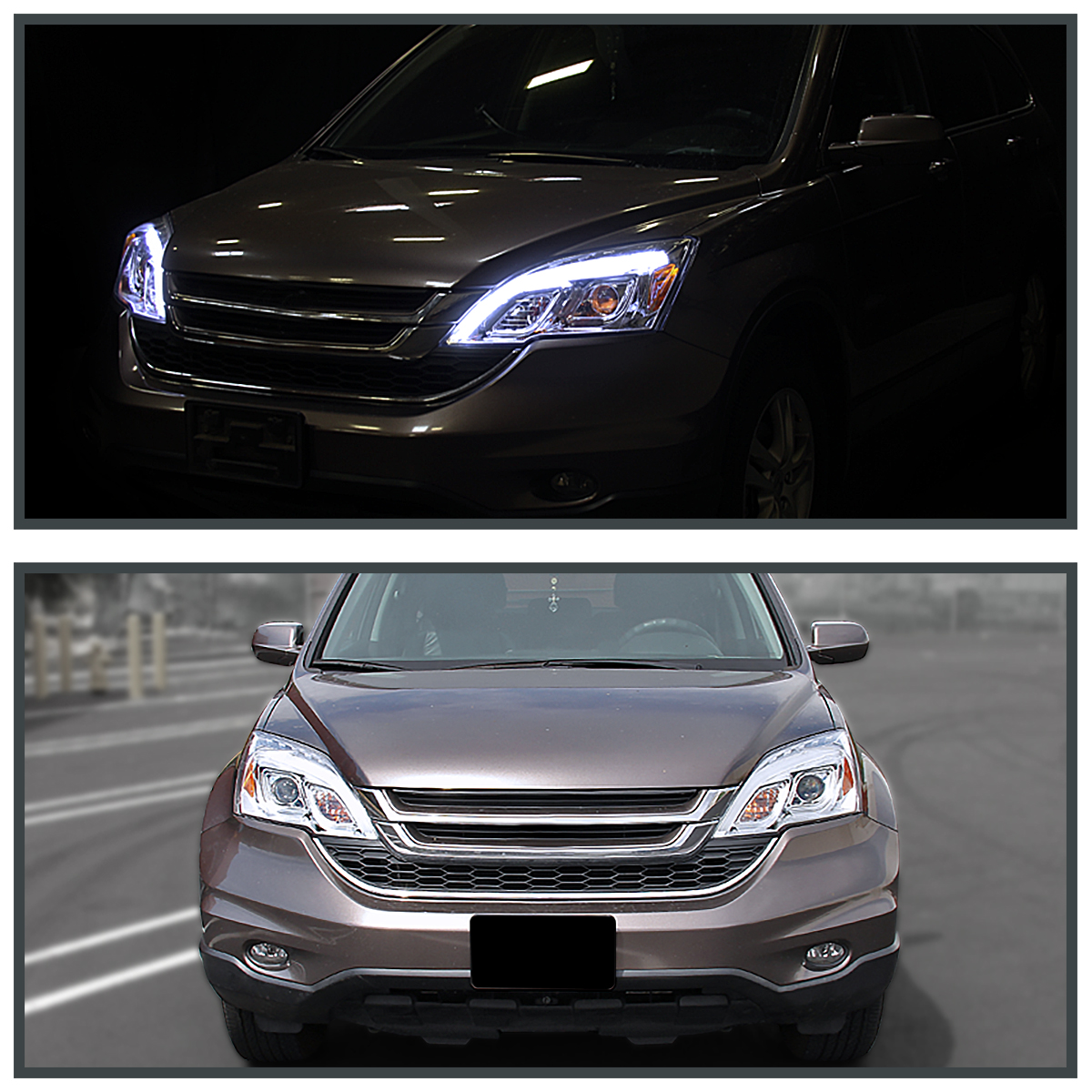 for 2007 2011 honda crv cr v led drl chrome projector headlights left right ebay. Black Bedroom Furniture Sets. Home Design Ideas