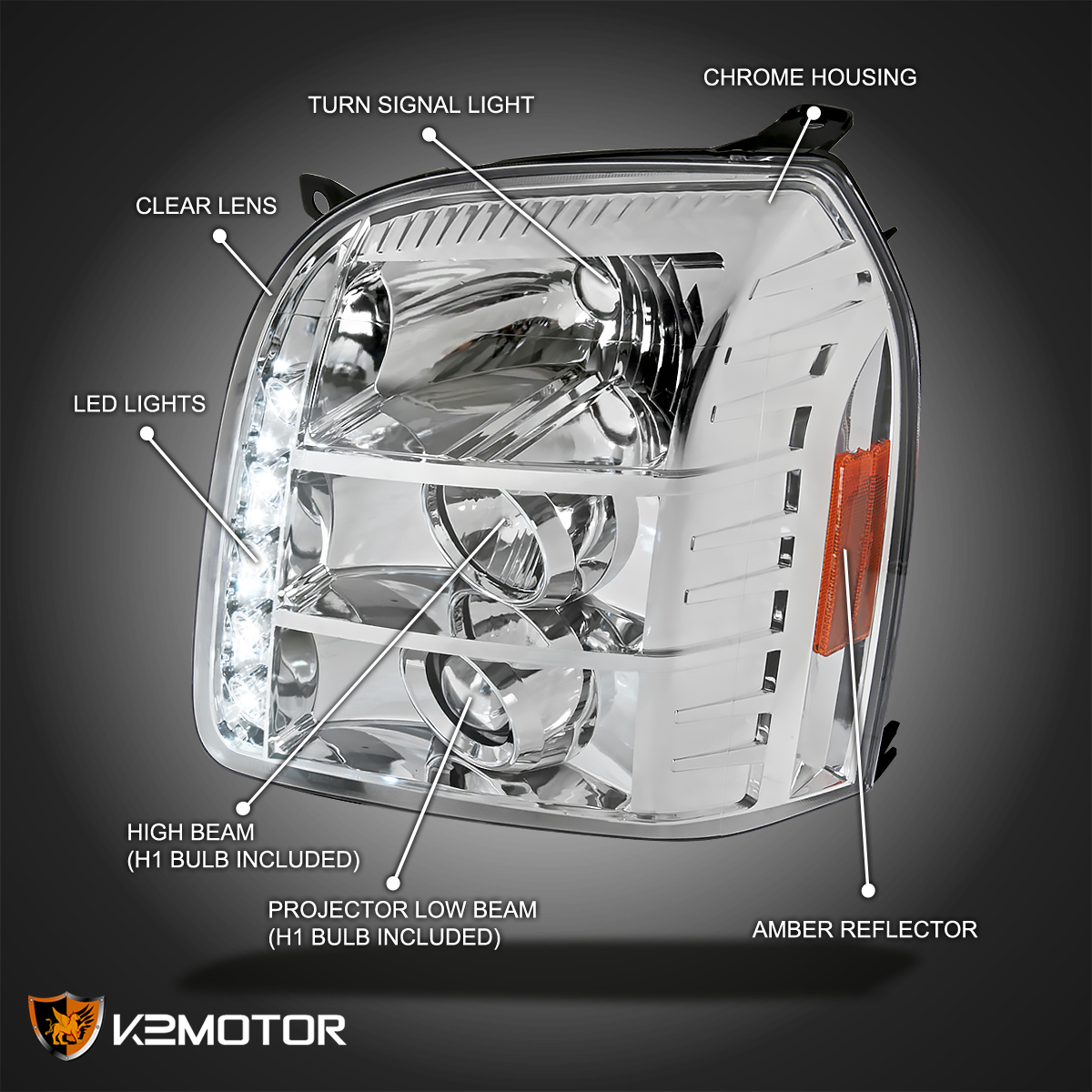 Used Yukon Denali >> 2007-2012 GMC Yukon Denali LED Projector Headlights Left+Right | eBay