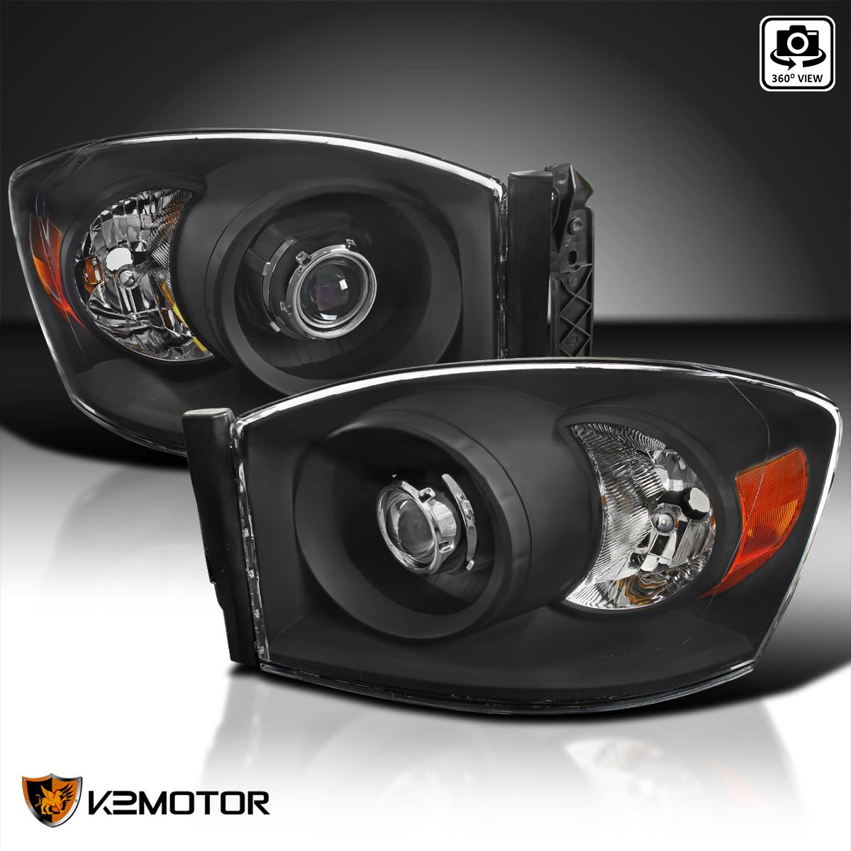 Details about Black 2006-2008 Dodge Ram 1500 2500 3500 Retrofit Style  Projector Headlights