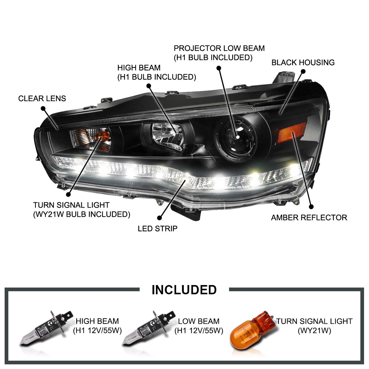 Mitsubishi Lancer Evo X Black: Fits 2008-2015 Mitsubishi Lancer EVO X 10 LED Strip