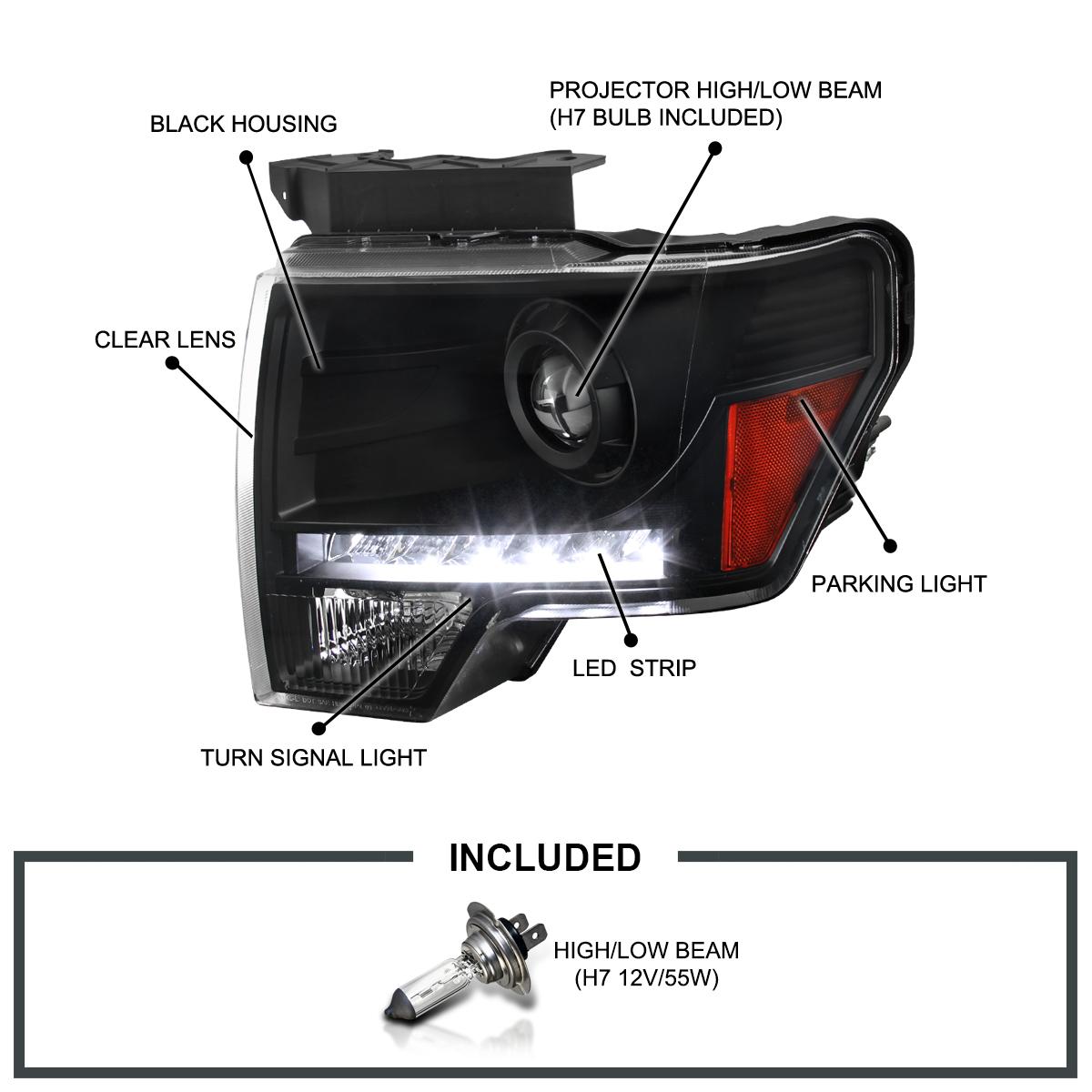 black 2009 2014 ford f150 projector headlights wled daytime running lights