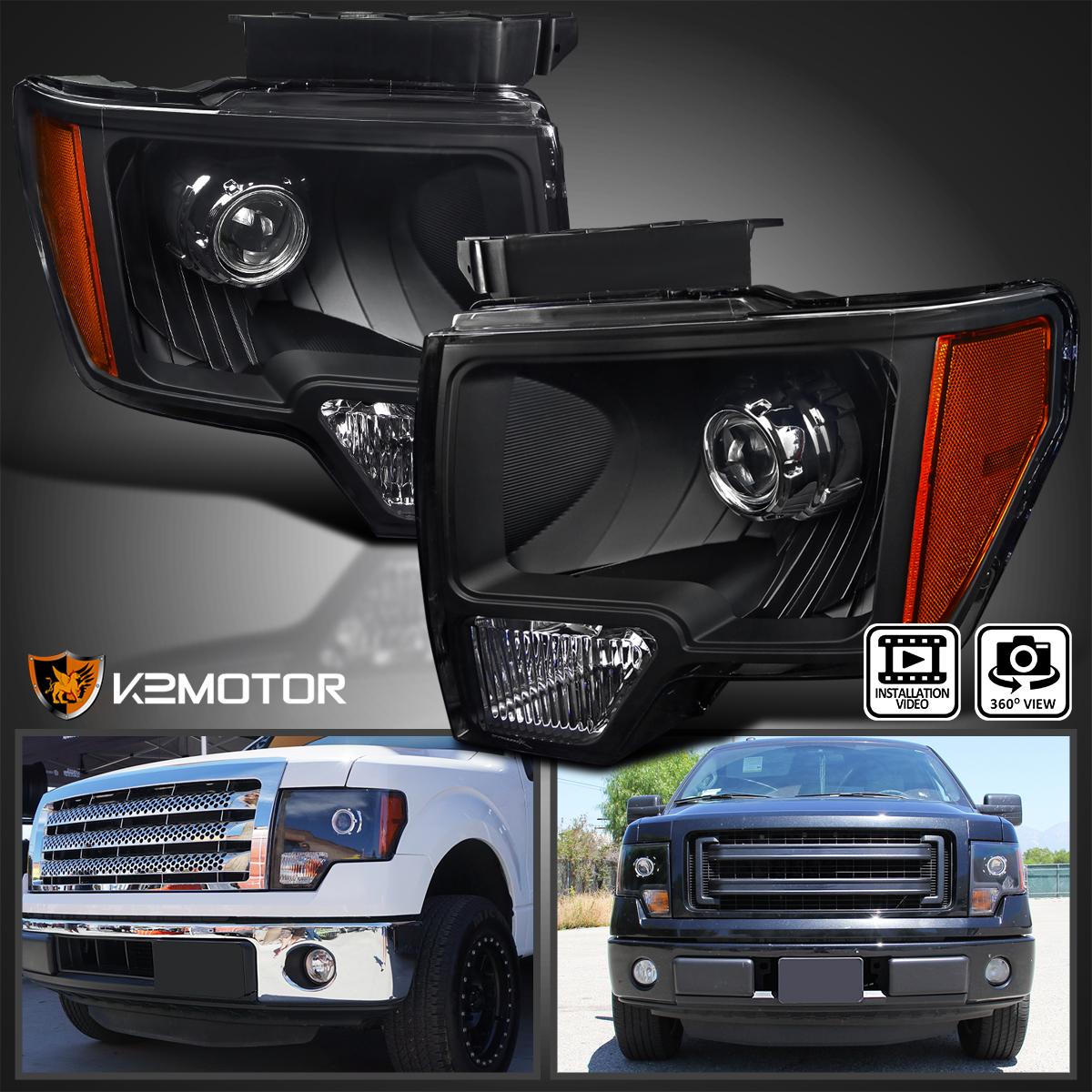 Black 2009 2014 Ford F150 Custom Retrofit Style Projector Headlights
