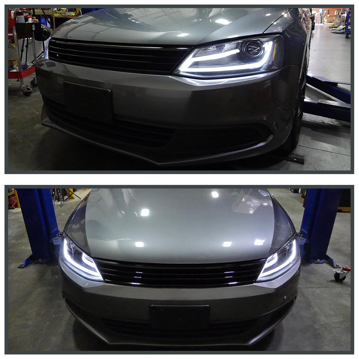 Fit 11-14 VW Jetta MK6 Euro Black Projector Headlights+LED DRL Light Bar | eBay