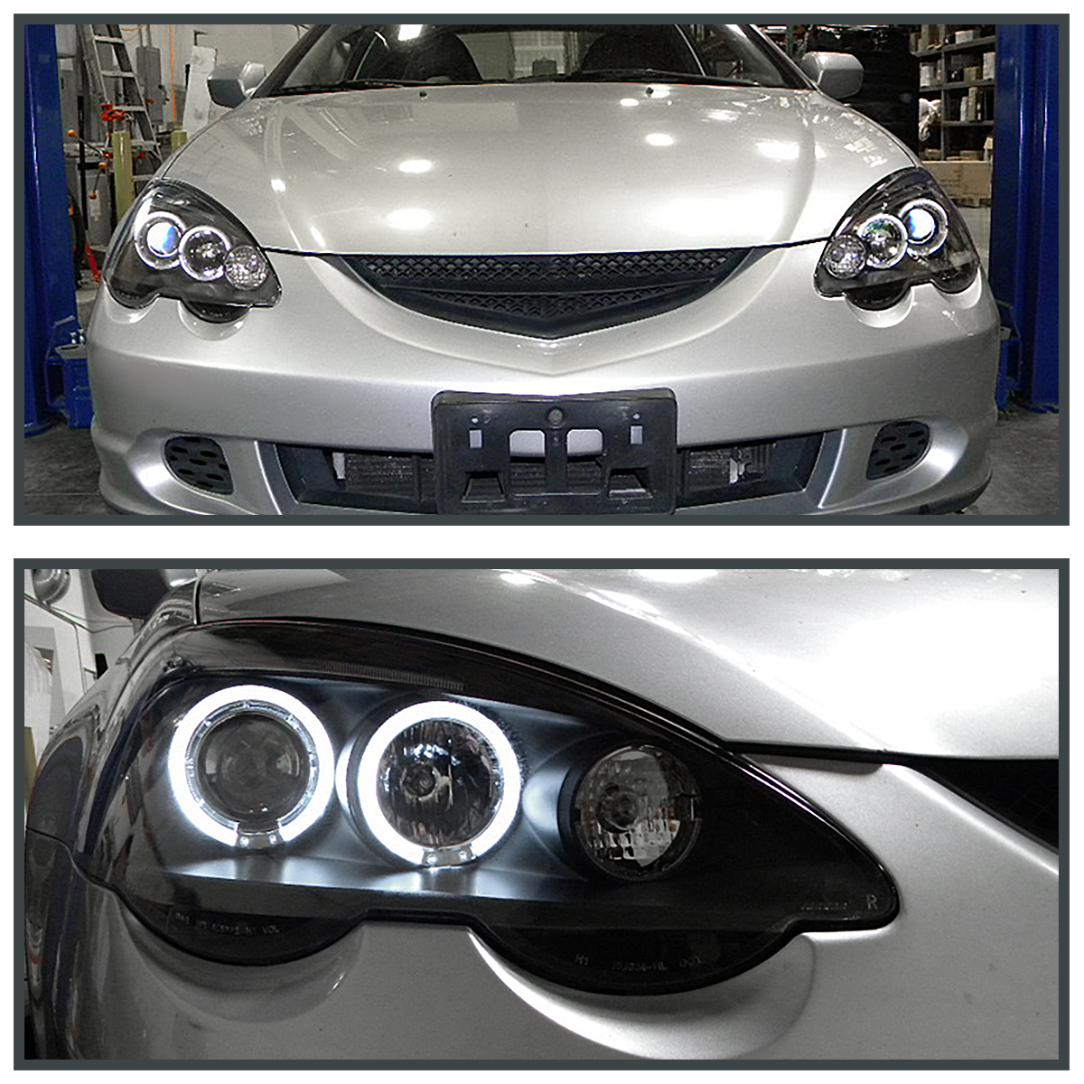 Acura RSX LED Eyelid HALO Projector Headlights Black Pair - 2002 acura rsx type s headlights