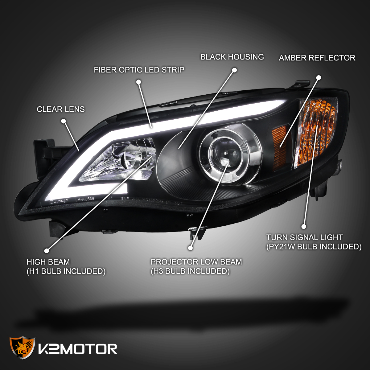 for subaru 08 14 impreza wrx 08 11 outback sport led projector headlights blk ebay. Black Bedroom Furniture Sets. Home Design Ideas
