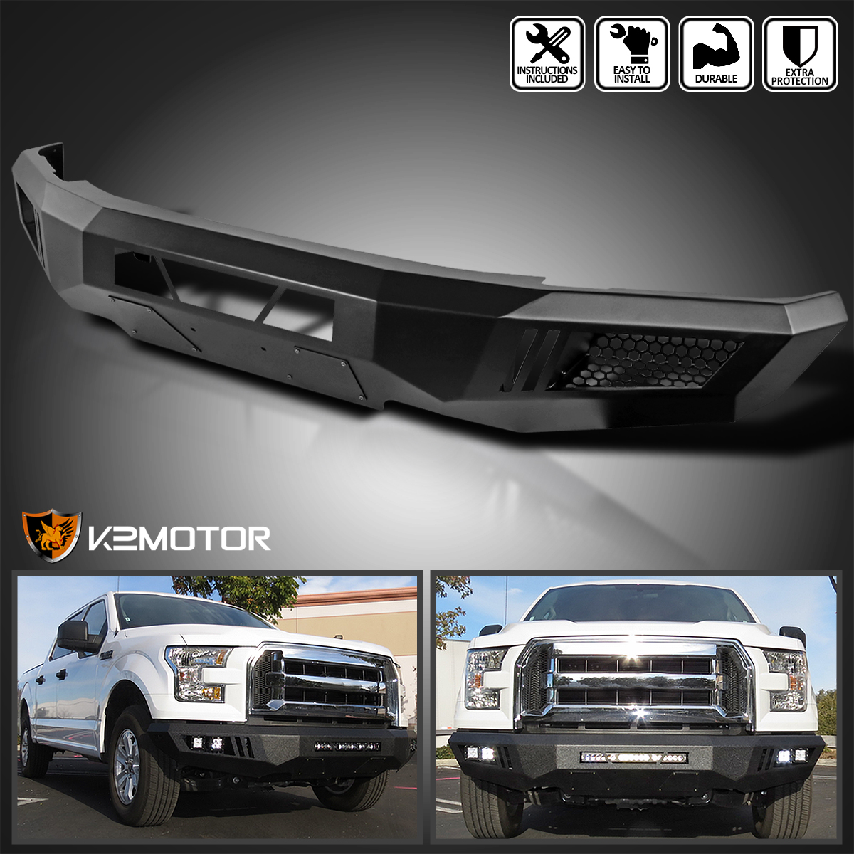 2015 2016 ford f150 raptor style black steel front bumper without