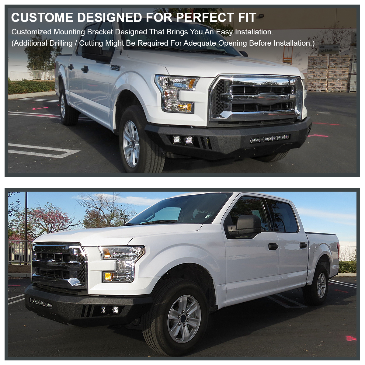 2015 2016 ford f150 raptor style black steel front bumper. Black Bedroom Furniture Sets. Home Design Ideas