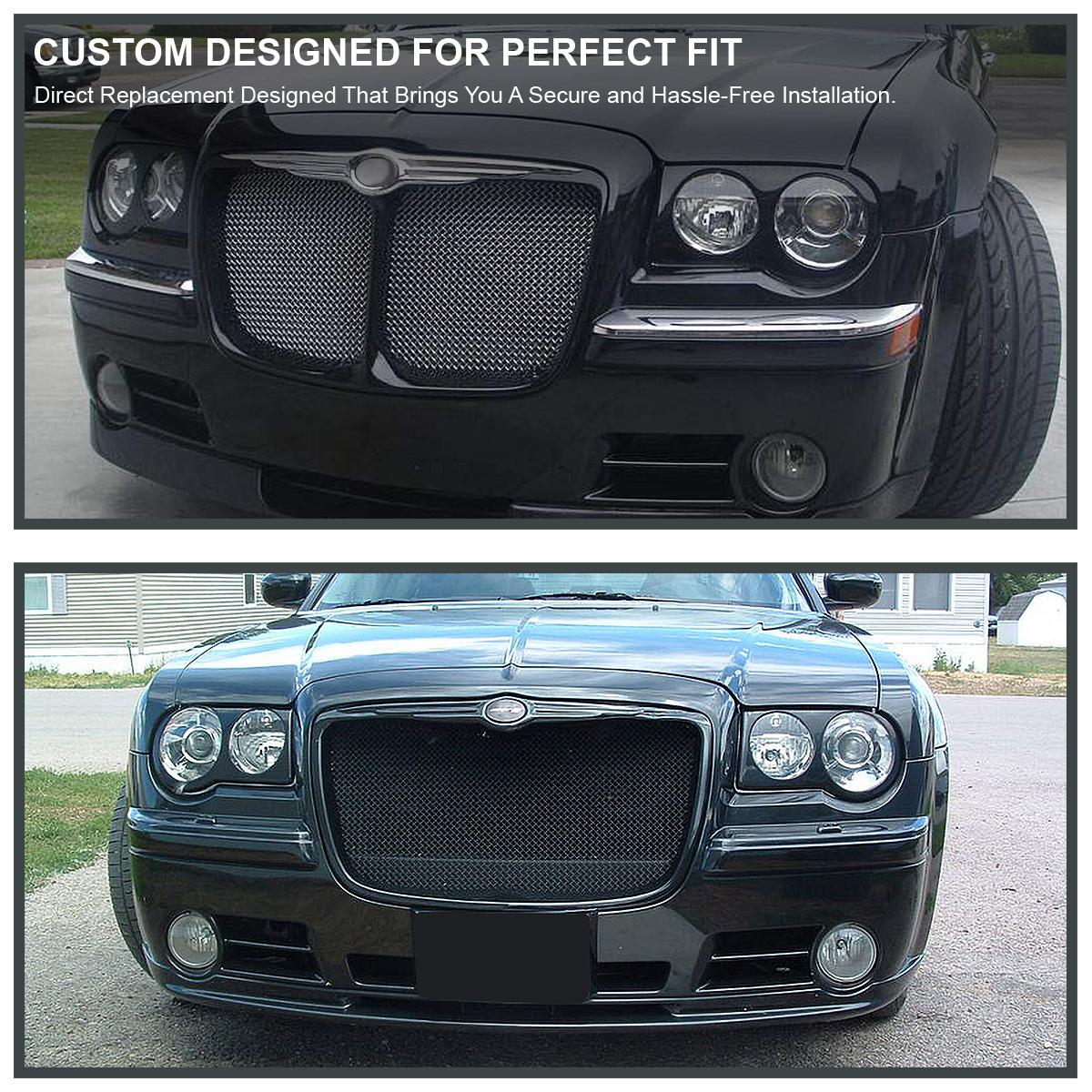 2005 2006 2007 Chrysler 300c Srt8 Clear Black Headlights: 2005-2010 Chrysler 300C Headlight Covers Bezel Eyelids