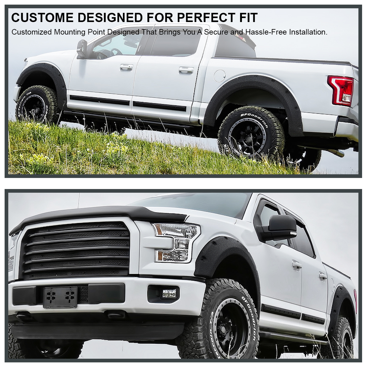 Rugged Textured 2015-2017 Ford F150 F-150 Pocket Rivet Wheel Cover Fender Flare
