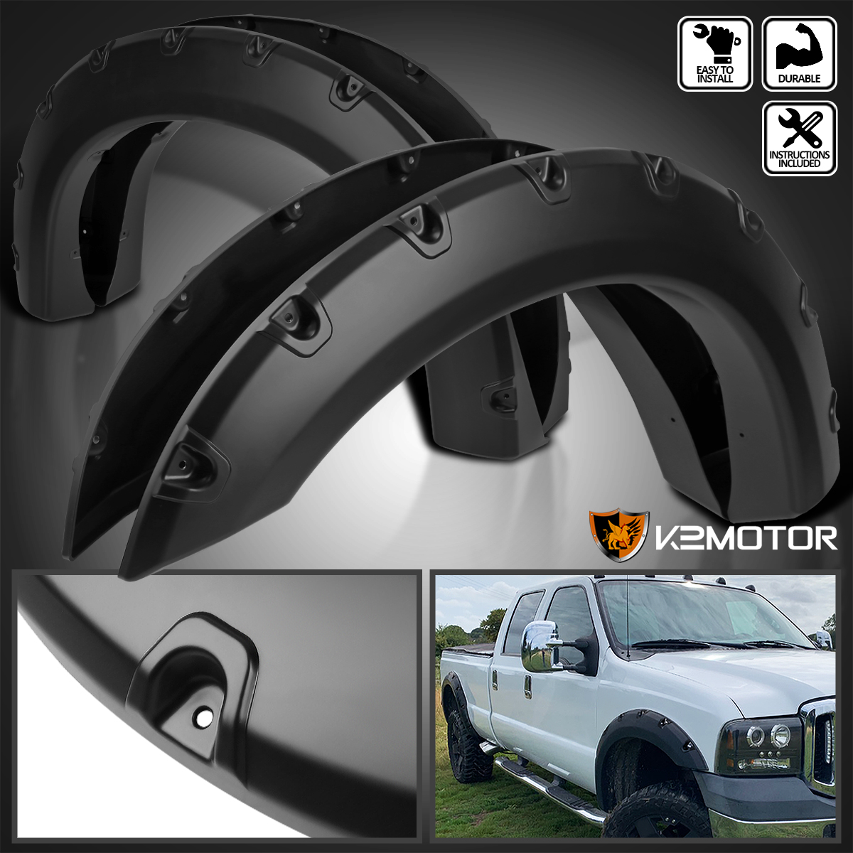 G-PLUS Wheel Fender Flares Kit for Ford F250 F350 Super Duty 2011-2016 Smooth Black Finish Front /& Rear Tire Cover Offroad Pocket Rivet Style 2012 2013 2014 2015
