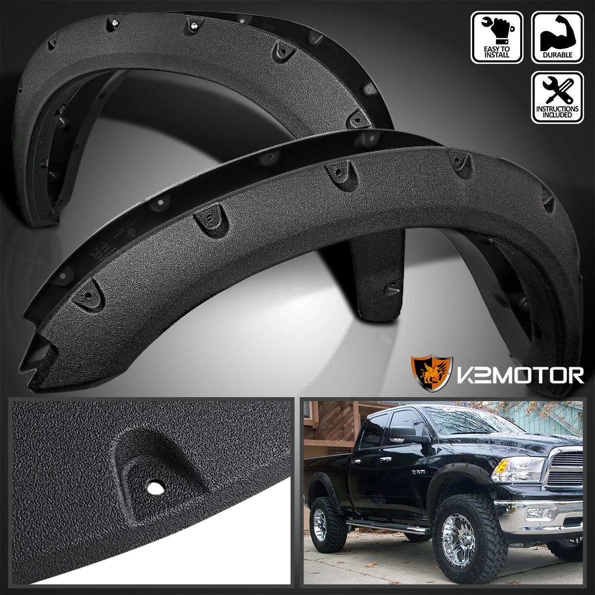 Textured Pocket-Rivet Fender Flares Compatible with Dodge Ram 1500 67//76//96 inches Fleetside Bed 09-18