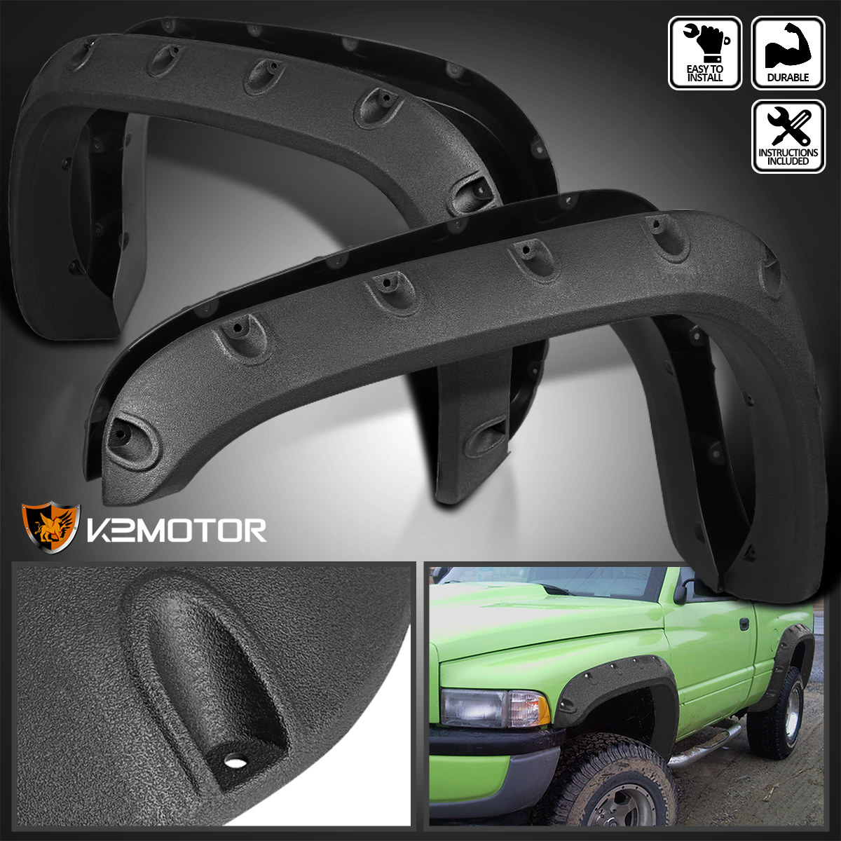 Spec-D Tuning For Dodge Ram 1500 2500 3500 Rough Texture Pocket Rivet Wheel Fender Flares