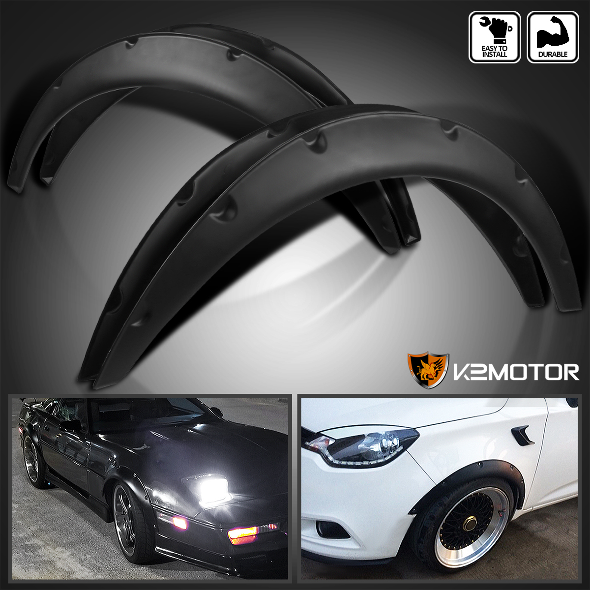 Yosoo 4Pcs 4.3//110mm Universal Flexible Car Front /& Rear Fender Flares Extra Wide Body Wheel Arches