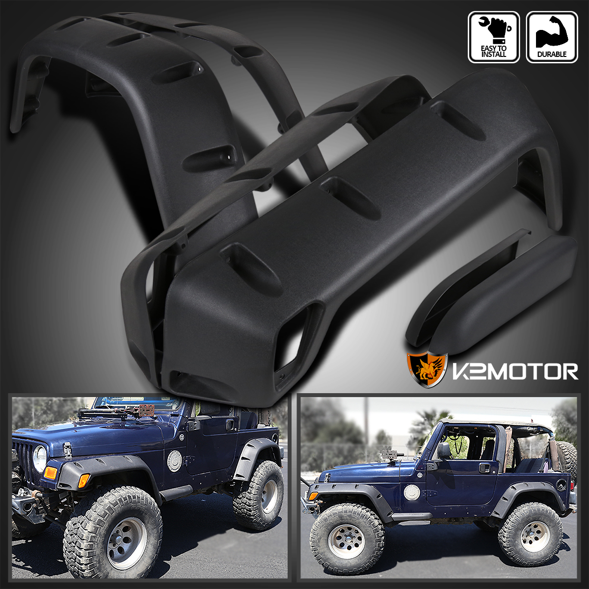 "1999 Jeep Wrangler Fenders: 6PC 97-06 Jeep Wrangler TJ 7"" Wide Black Pocket Extended"
