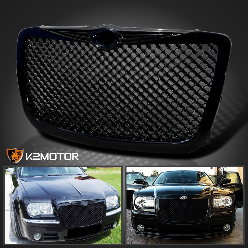 05 10 Chrysler 300 Black Projector Headlights Mesh Bumper