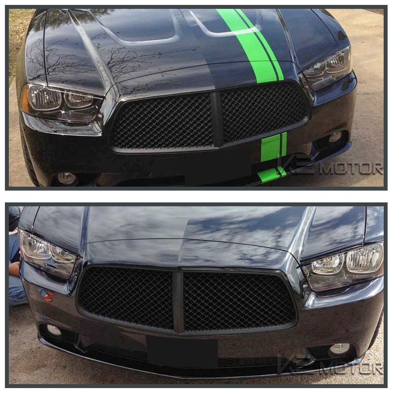 2011 2014 dodge charger black front bumper mesh hood grill. Black Bedroom Furniture Sets. Home Design Ideas